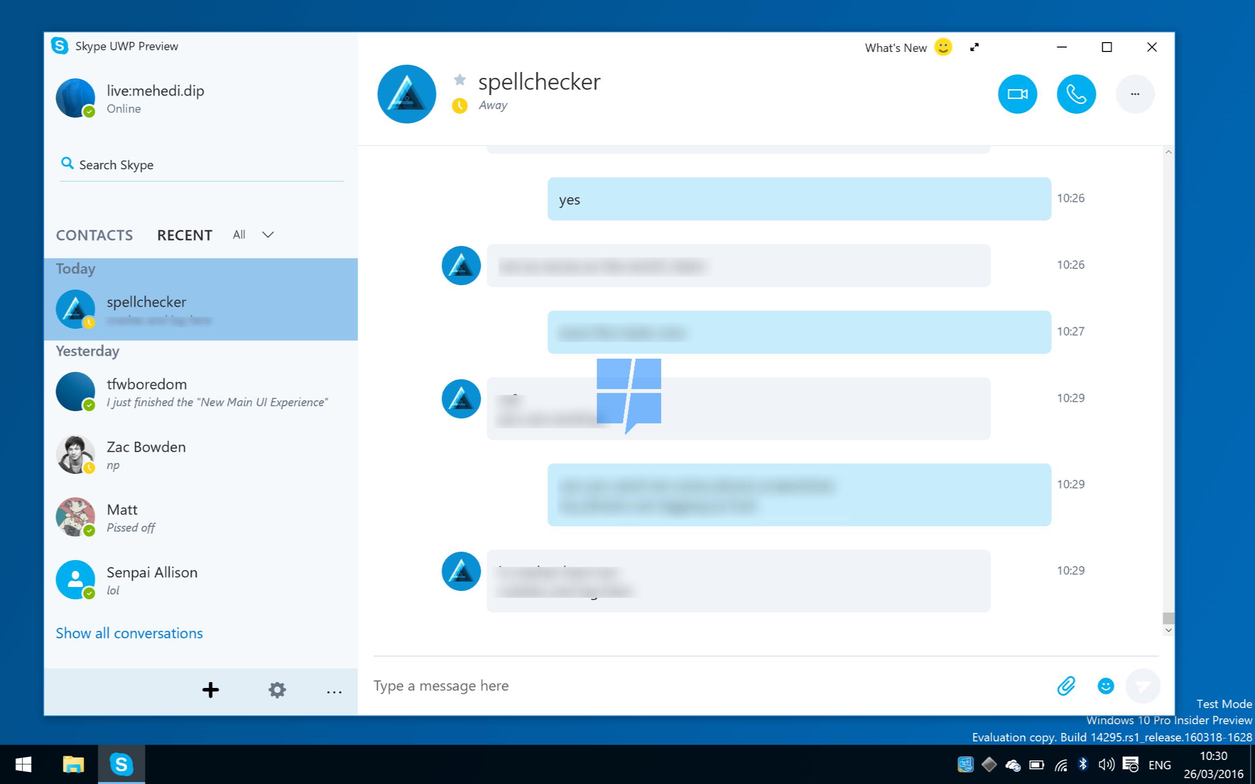 Die neue Skype UWP.