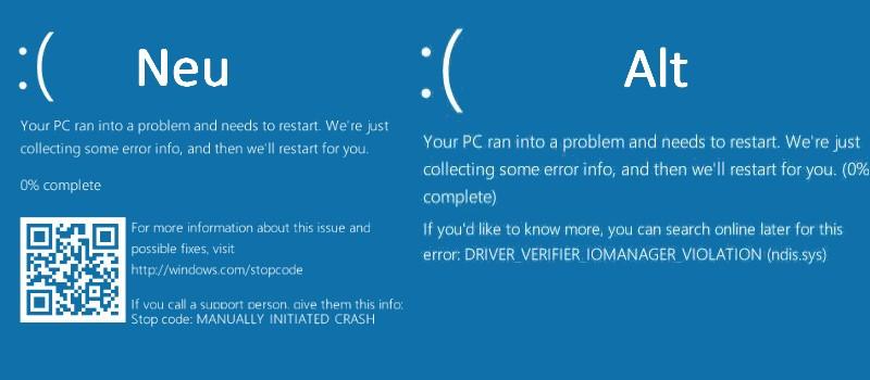 Bluescreen alt und neu Windows 10