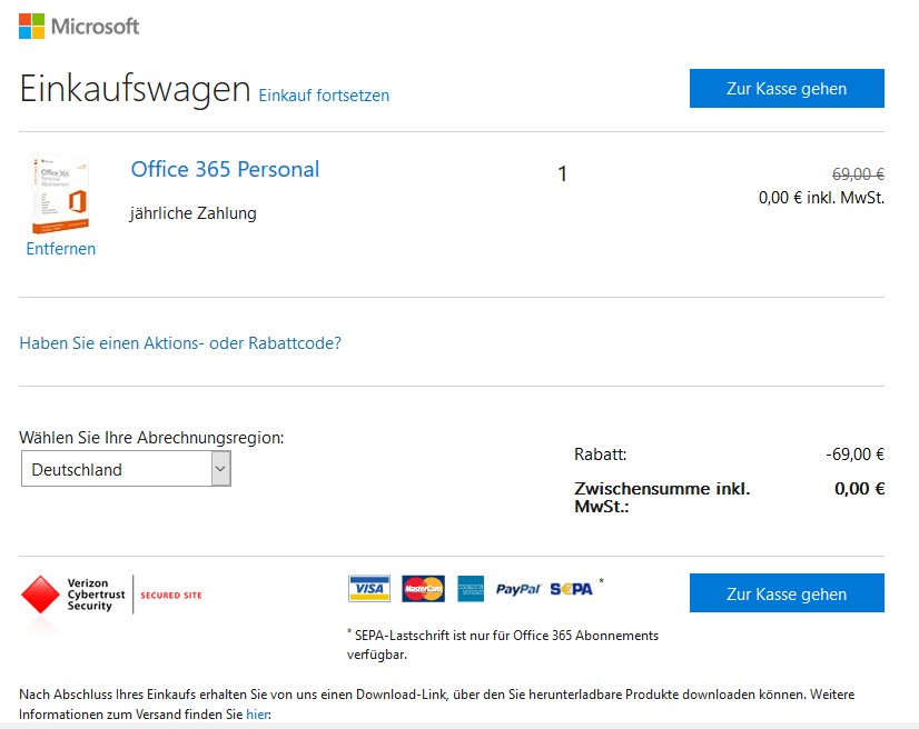 Office 365 Personal kostenlos 1 Jahr