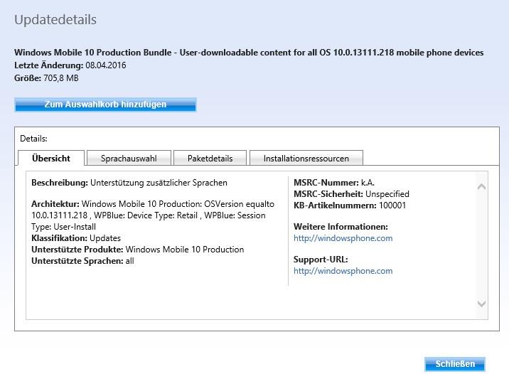 Update Katalog Build 10586.218