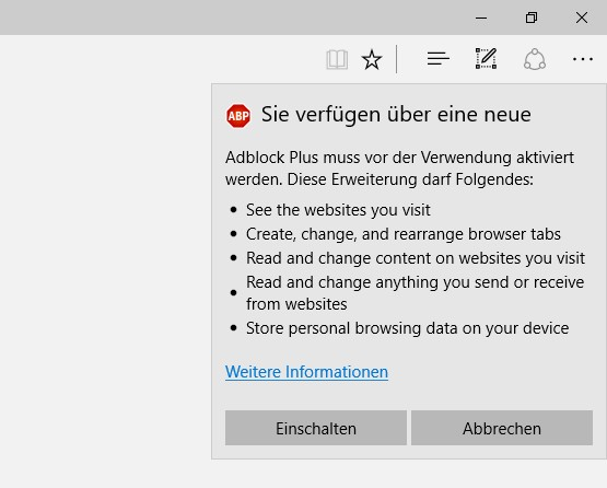 Adblock installation Edge