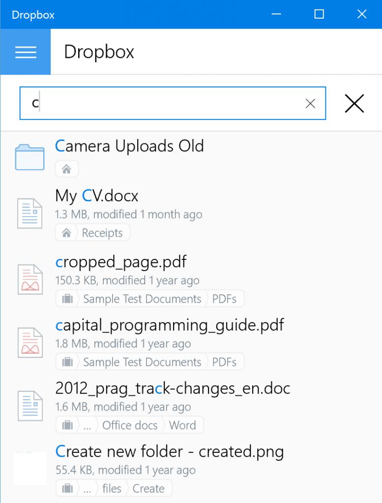 Suche Dropbox 4.2