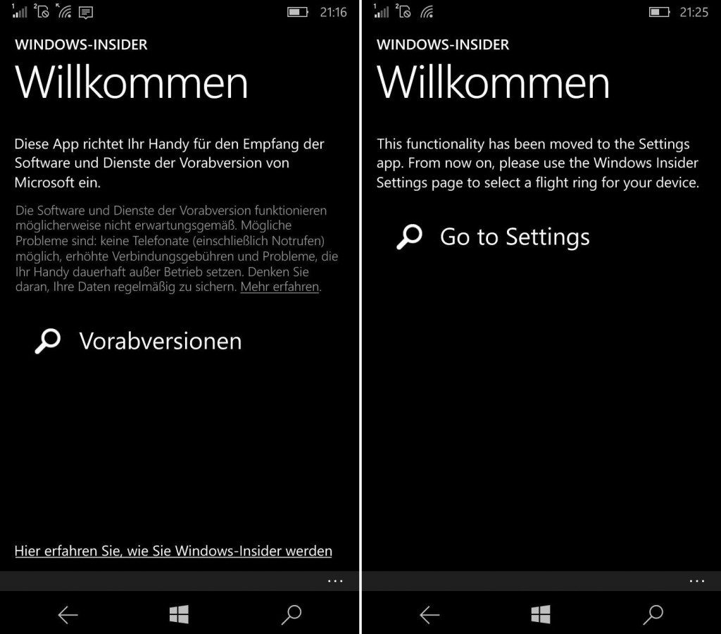 Windows Insider App nach Update Redstone