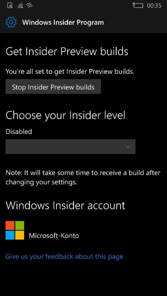 Windows Insider Build Phone