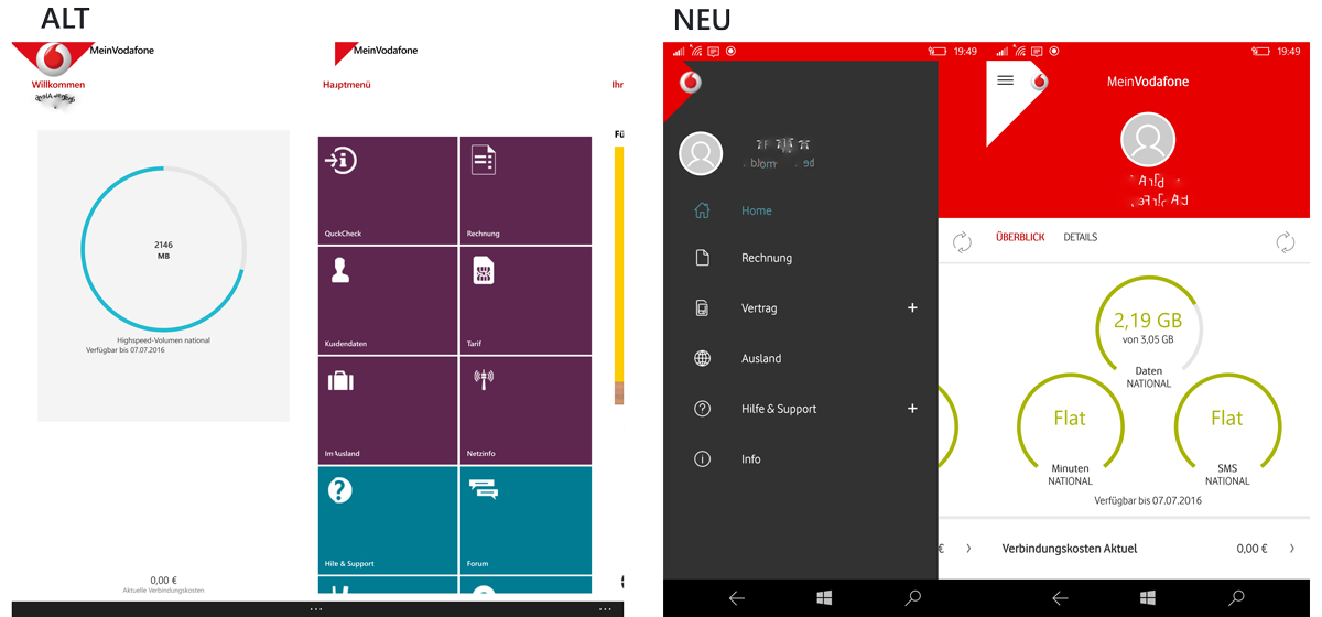 neue meinvodafone app f r windows phone mobile jetzt. Black Bedroom Furniture Sets. Home Design Ideas