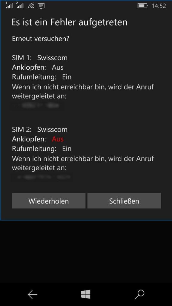 Smart Dual Sim Fehler