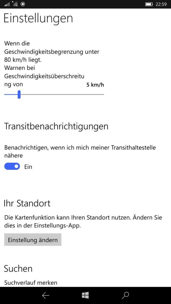 Transitbenachrichtigungen Windows Karten App