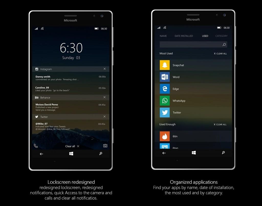 W10M Konzept Sperrbildschirm & Apps