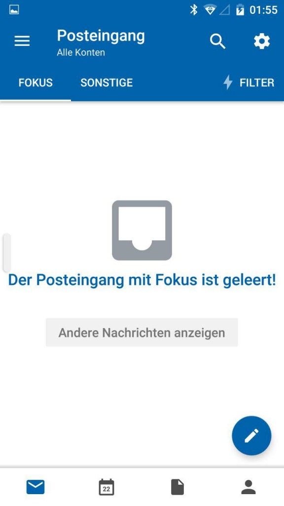 fokussierter Posteingang Android