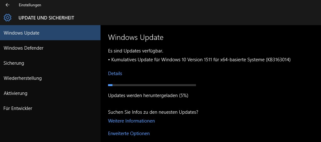 kumulatives Update Windows 10