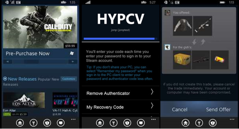 steam-windows phone app