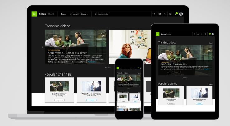 Videodienst für Unternehmen: Microsoft Stream (Quelle: TechCrunch)