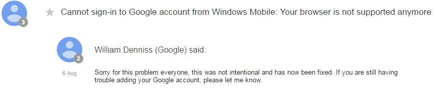 Google Antwort Outlook
