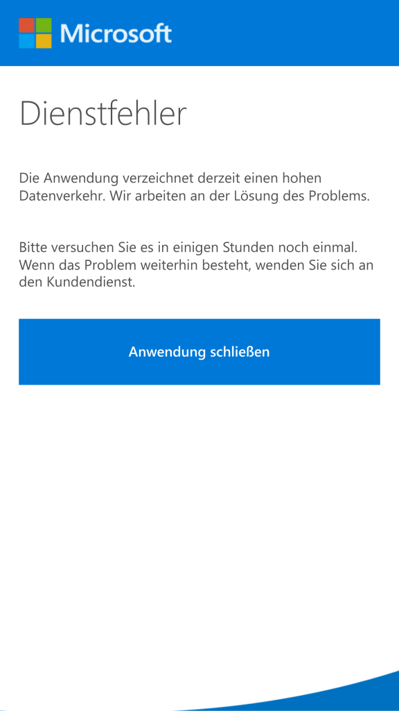 Lumia Offers Dienstfehler