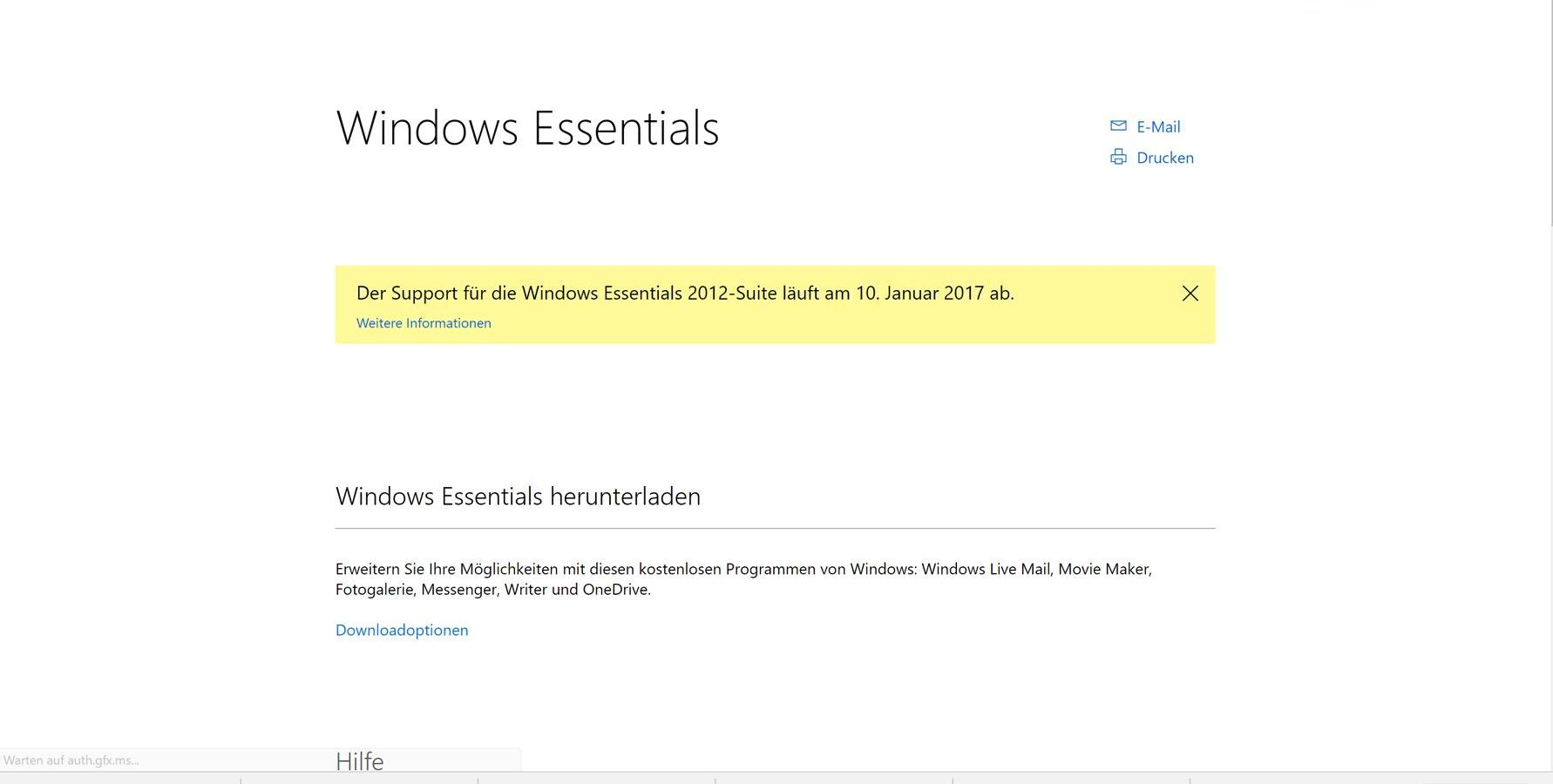 Windows Essentials 2012 Supportende