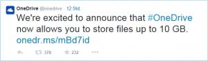 OneDrive Tweet: Upload Limitierung nun bei 10GB