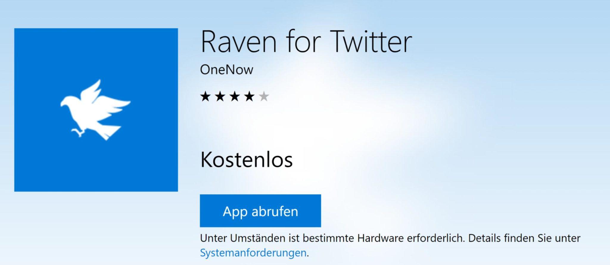 raven sch ne twitter app f r xbox one und co windowsunited. Black Bedroom Furniture Sets. Home Design Ideas