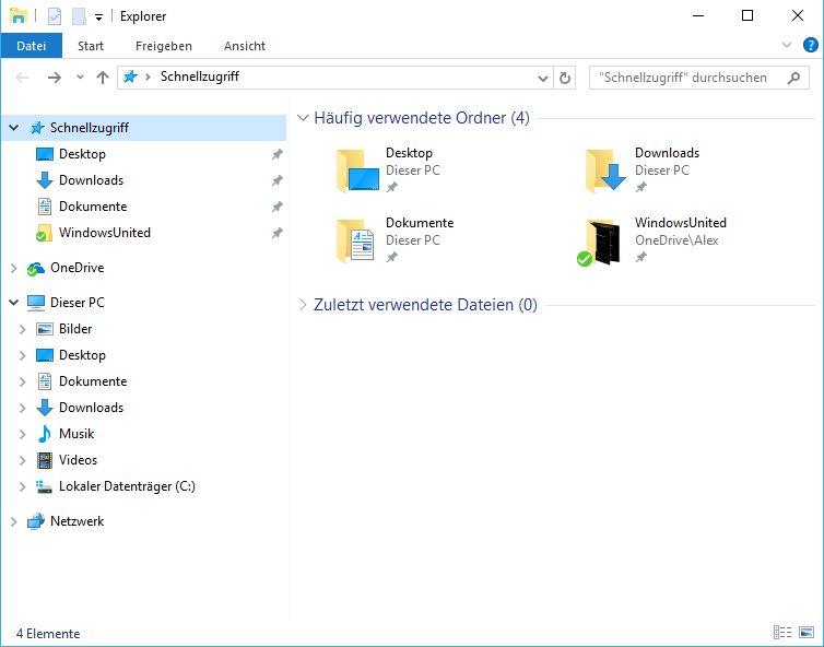 Windows 10 Explorer Schnellzugriff abschalten
