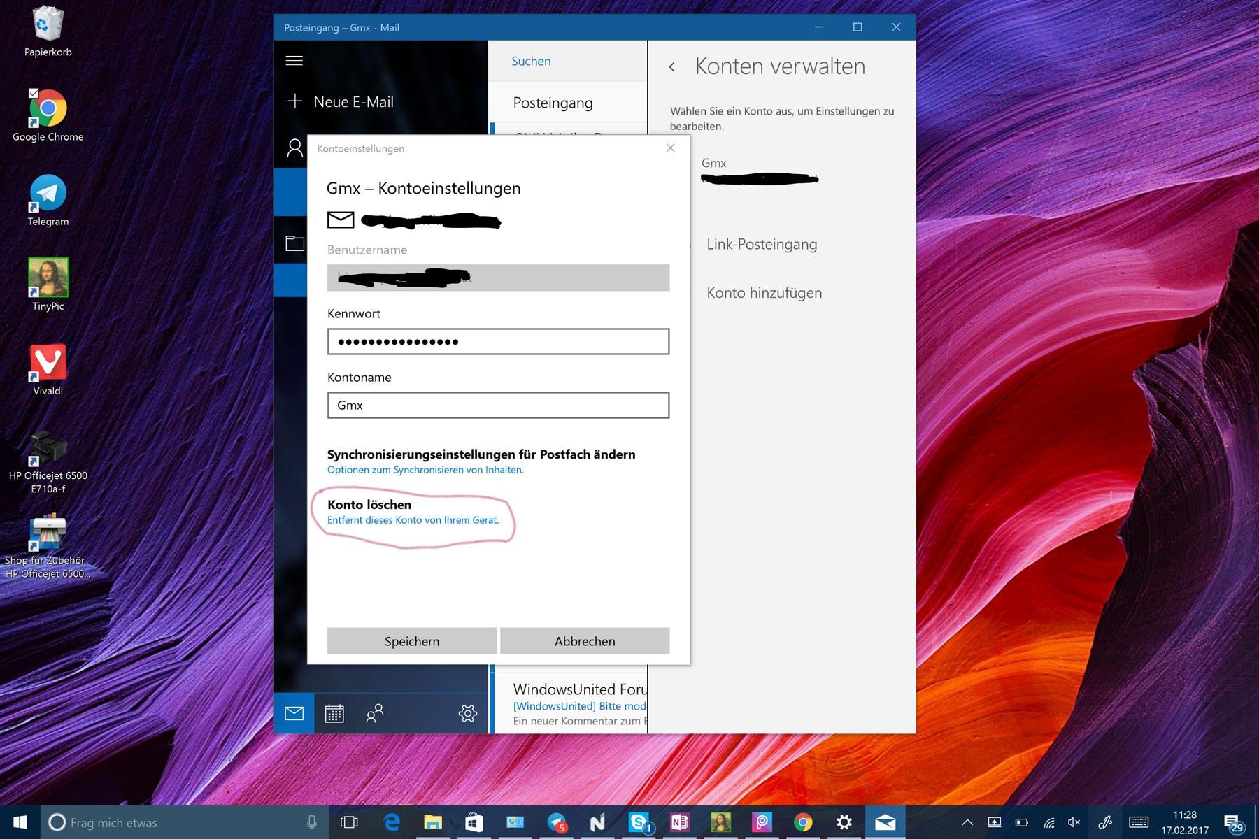 Outlook Mail konto löschen