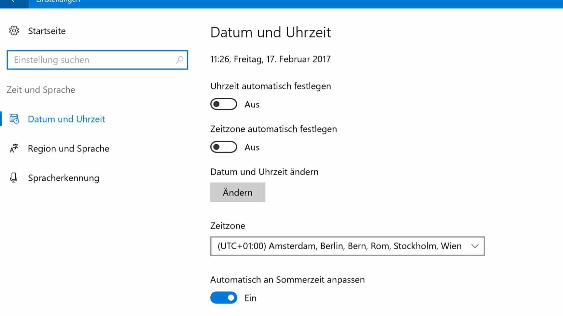 Windows 10 Uhrzeit umstellen