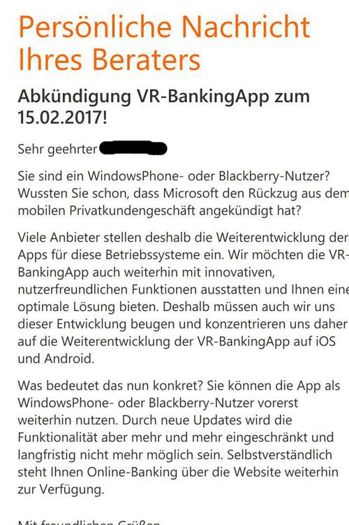 VR-Banking App für Windows Phone wird eingestellt