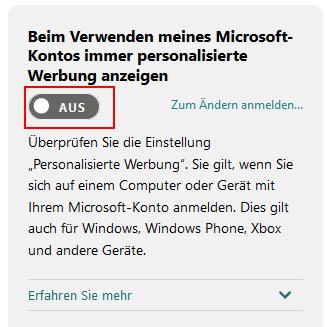 Werbung Microsoft Konto Ein/Aus