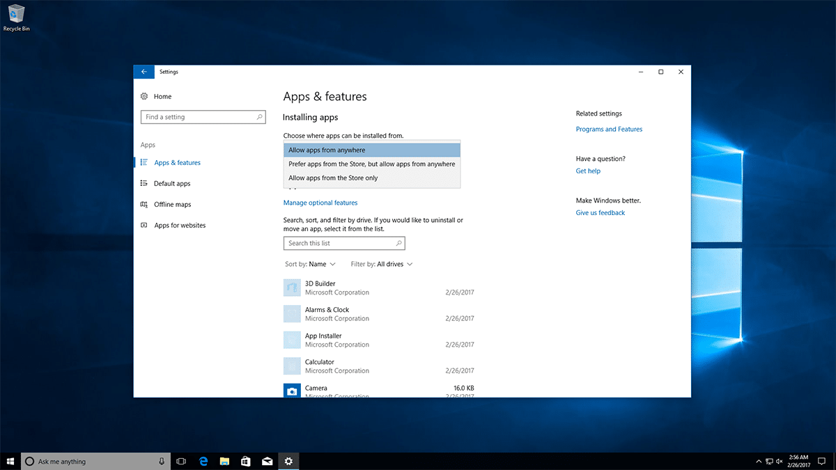 Windows 10 Apps Optionen in den Einstellungen