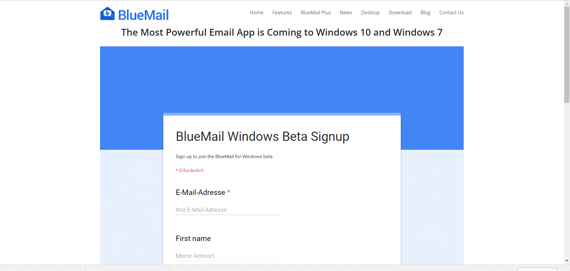 Bluemail sucht Betatester für Windows 10 (und 7) Version