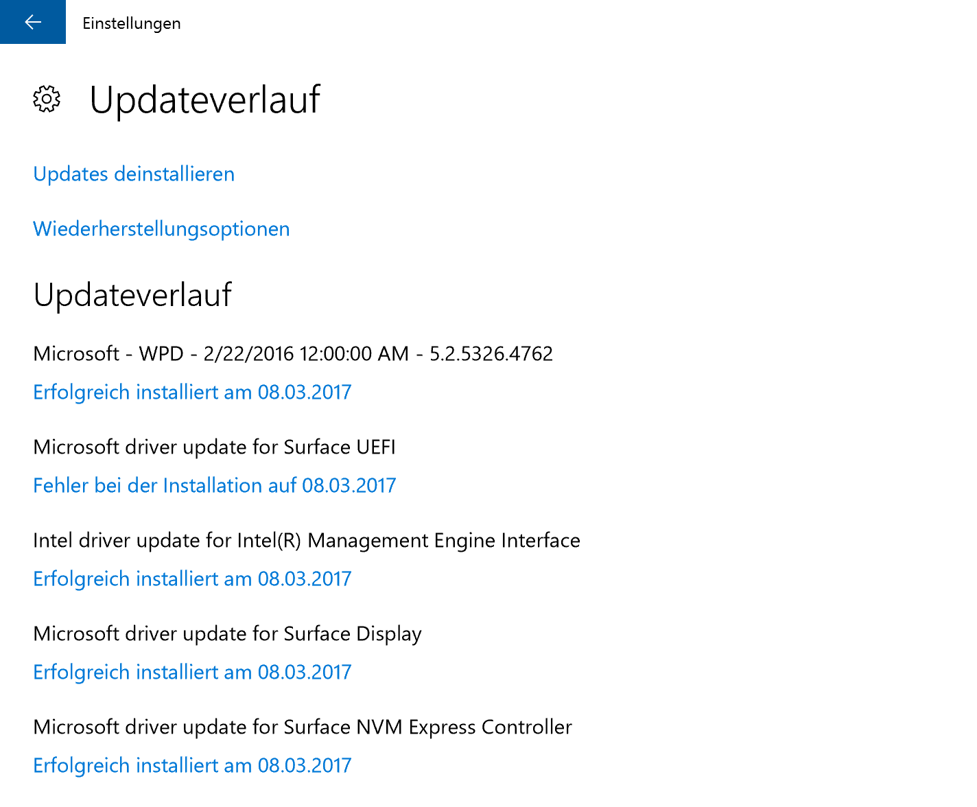 Updates Surface Pro 4