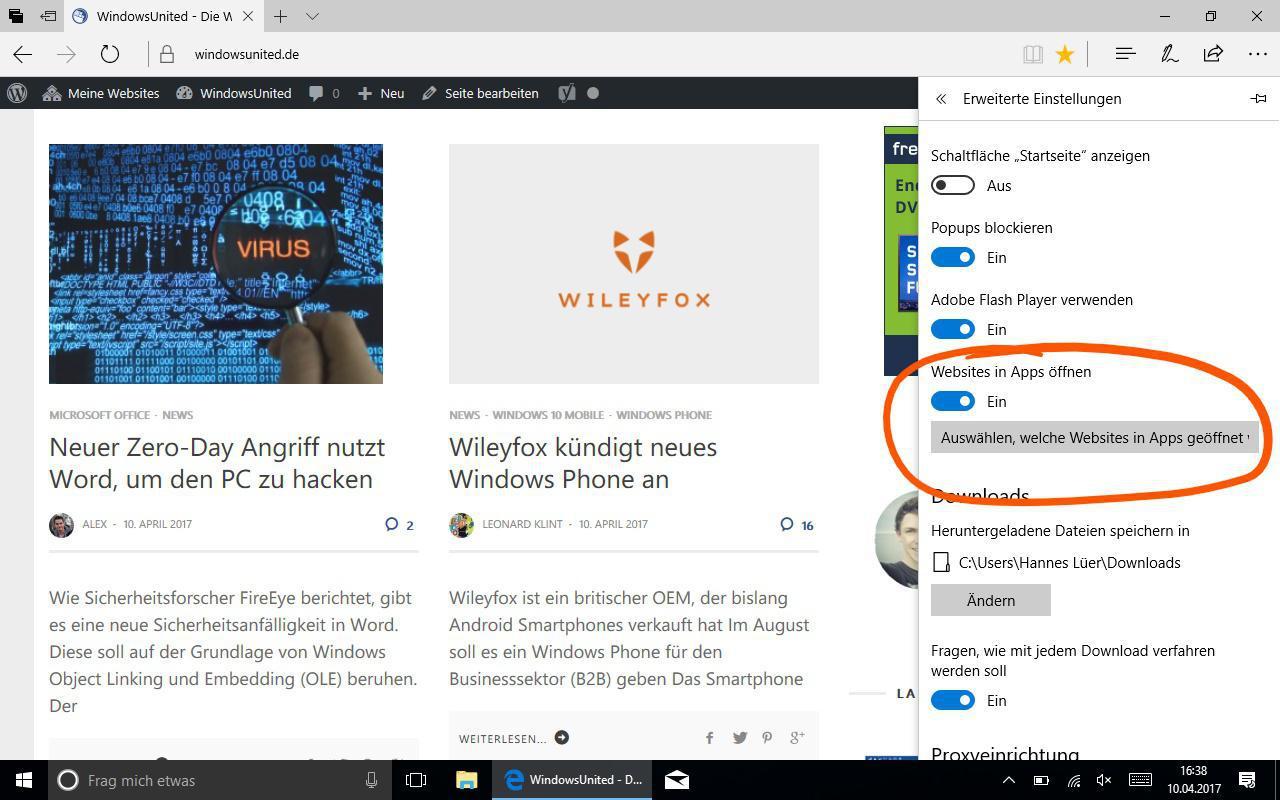 Edge Apps für Webseiten