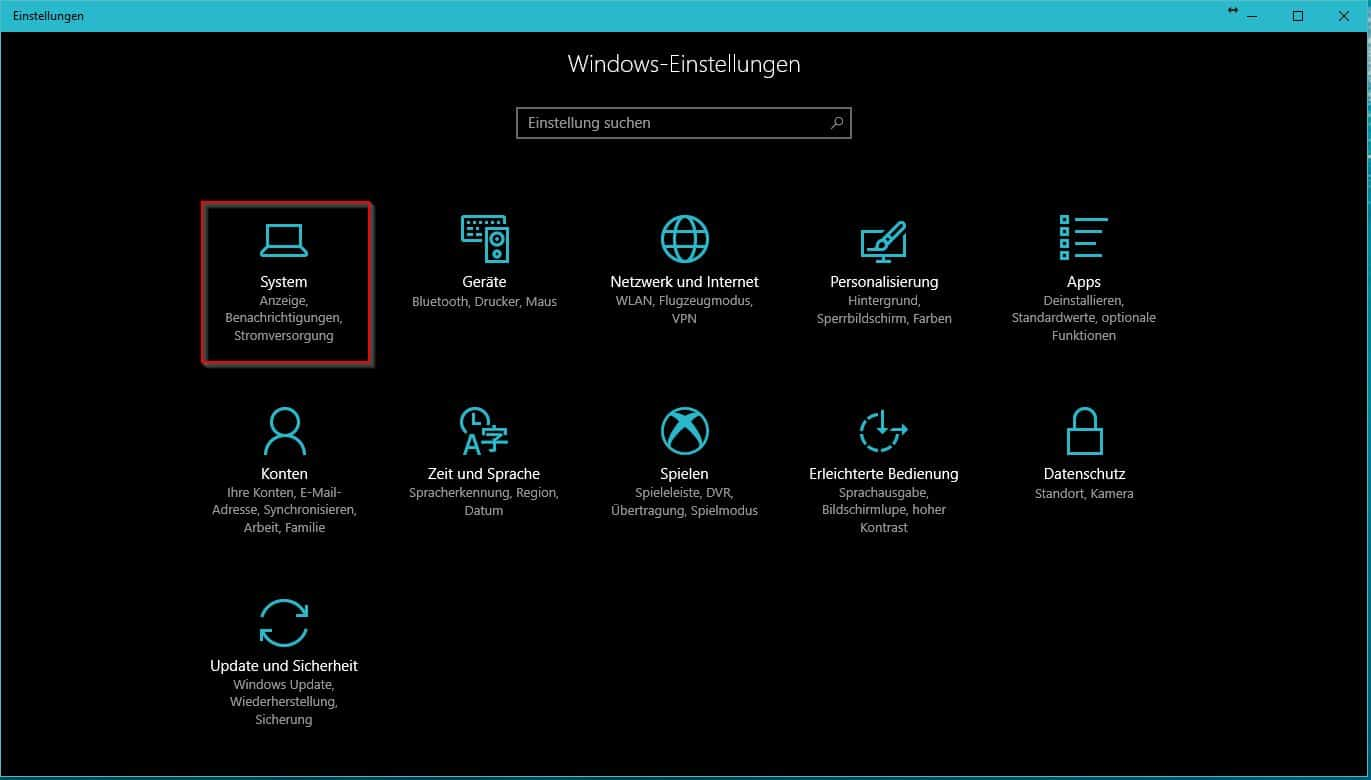 Windows 10 Einstellungen - System
