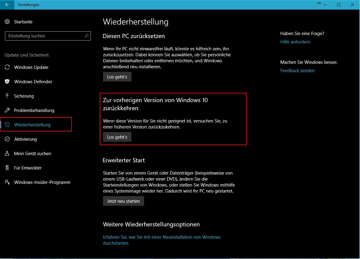 Downgrade auf vorherige Windows Version