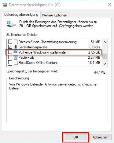 Vorherige Windows Installationen löschen