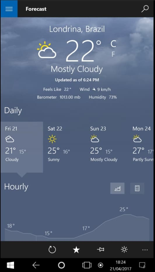 Windows 10 neuer Tablet Modus Wetter App