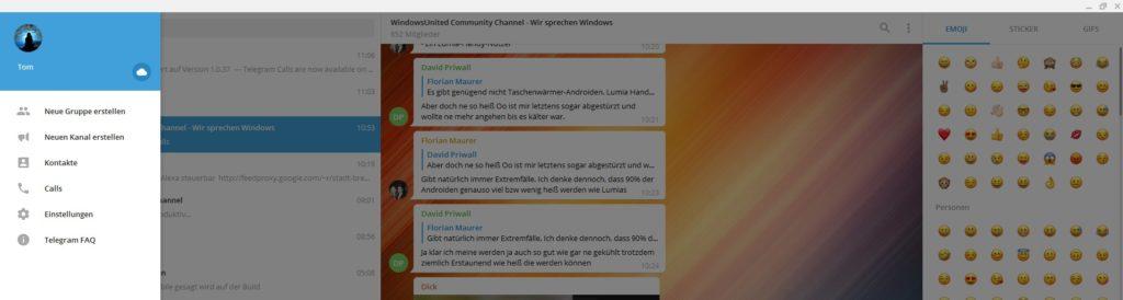 Telegram Desktop Anrufe Emojis