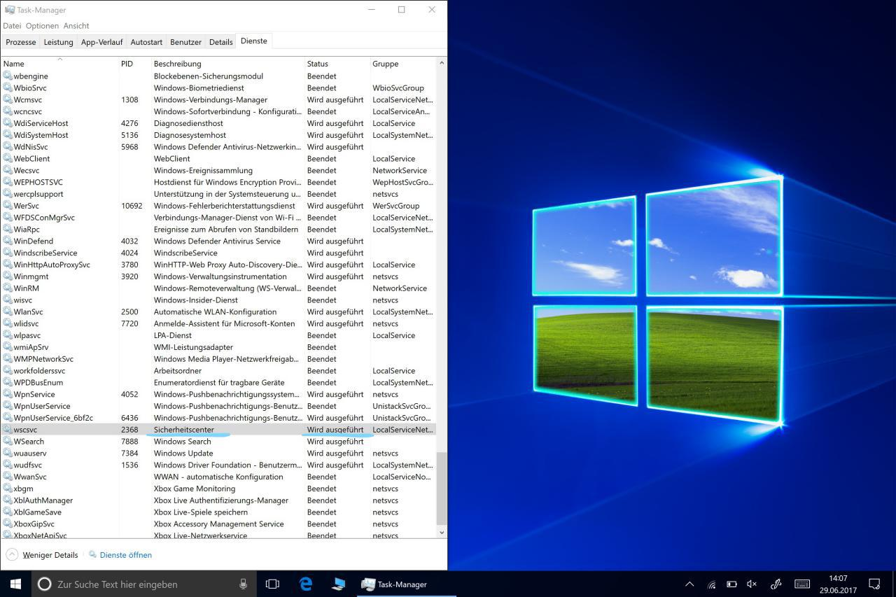Windows Sicherheitscenter läuft nach Beenden von Windows Management Instrumentation gezeigt im Taskmanager