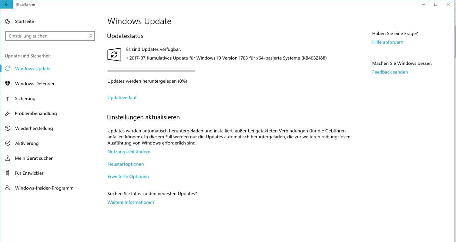 Kumulatives Update KB4032188 bringt Build 15063.502