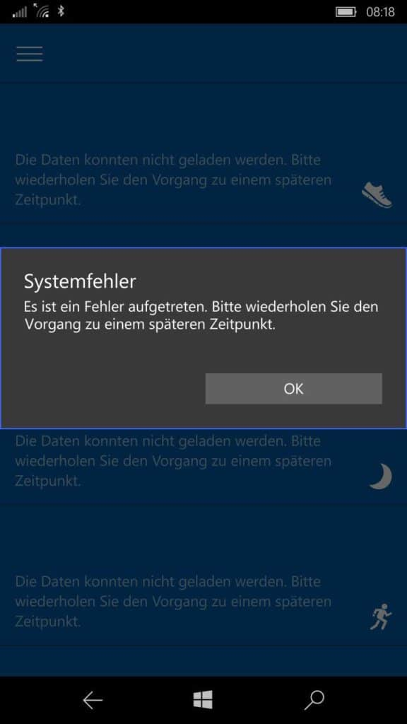 Microsoft Band Systemfehler