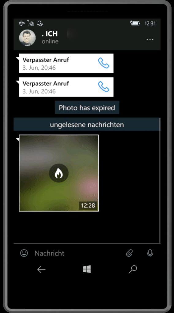 Telegram selbstlöschendes Bild Chat