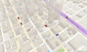 3D Modell Karte mit Autos auf Straßen