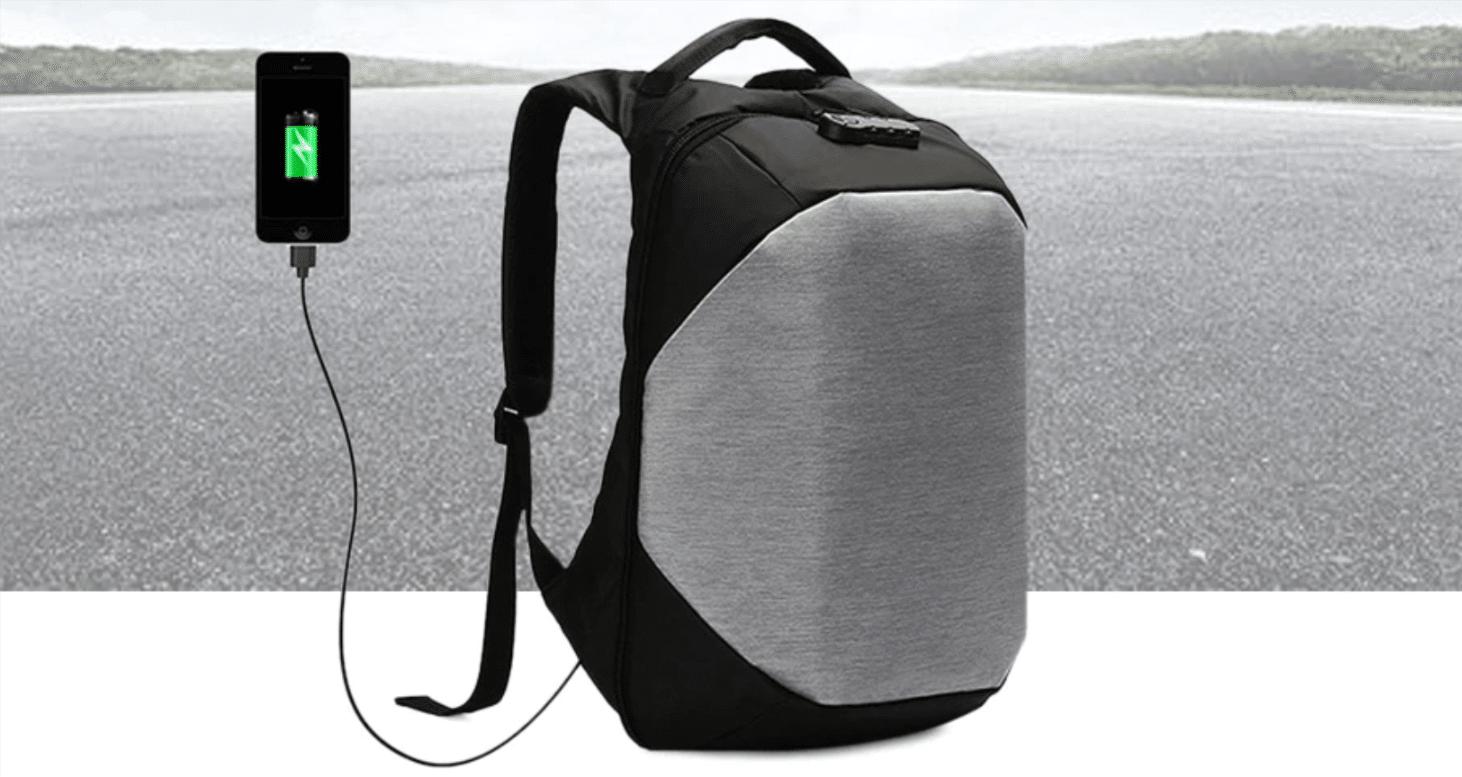 339bdf5359d27 Praktischer Rucksack mit Akku-Ladefunktion und Diebstahlschutz ...