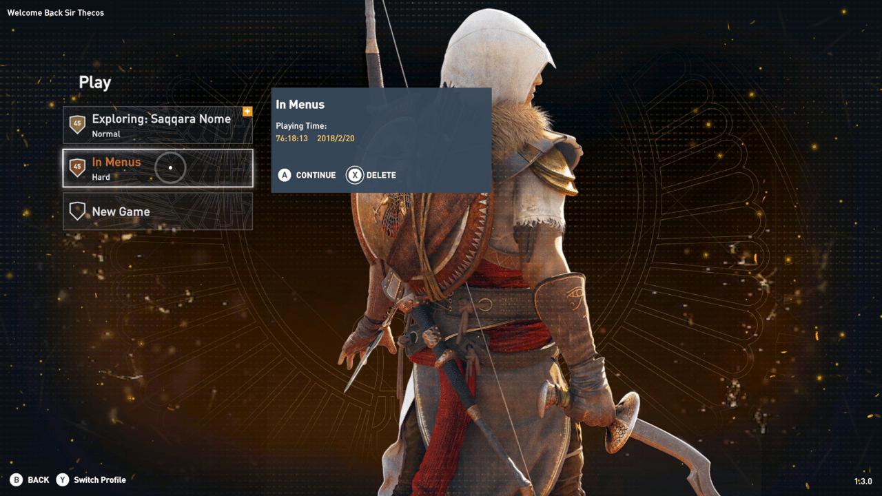 So sieht das Menü im New Game Plus-Modus von Assassin's Creed Origins aus.