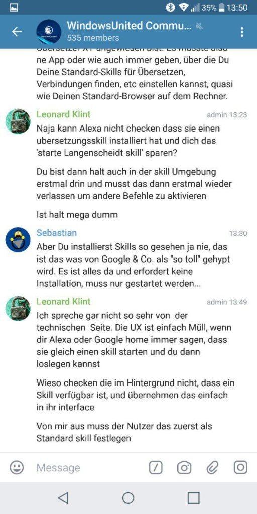 Aufgeräumte Ansicht Telegram X
