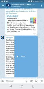 Wischgeste Antworten Telegram X