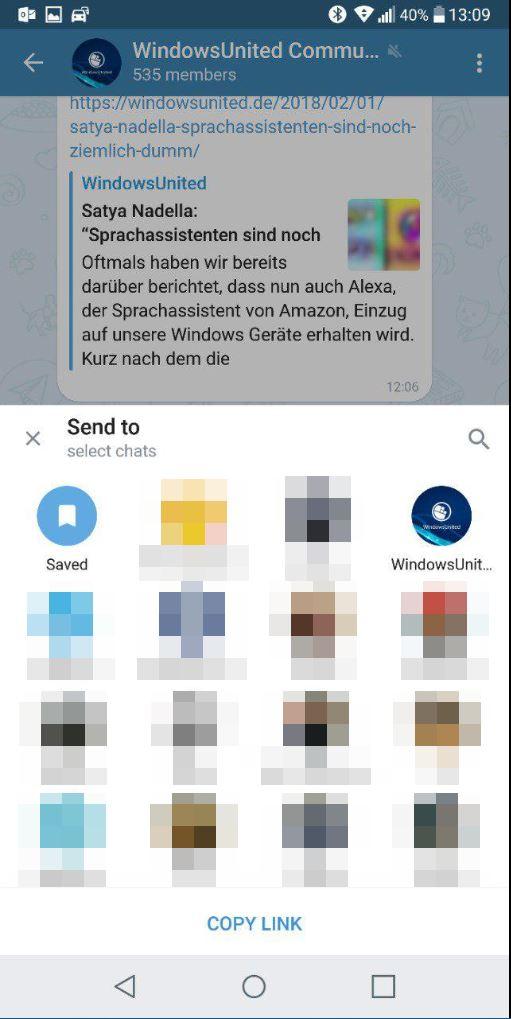 Nachrichten teilen Telegram X