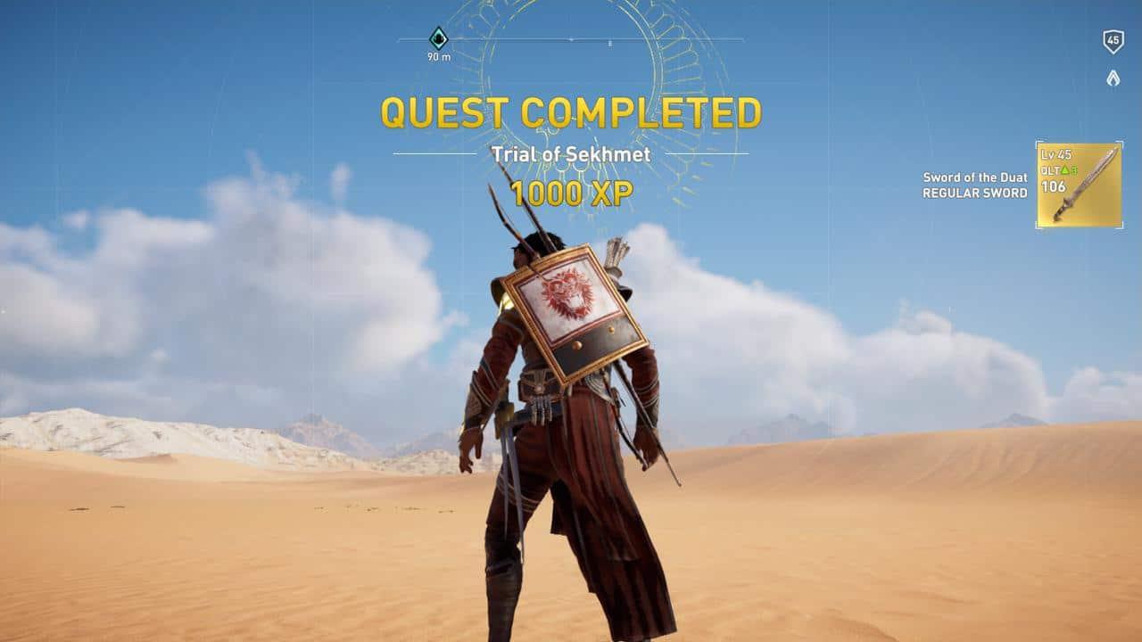 """Die erste schwere Prüfung der Götter in Assassin's Creed Origins beschert dem Spieler das """"Sowrd of the Duat""""."""