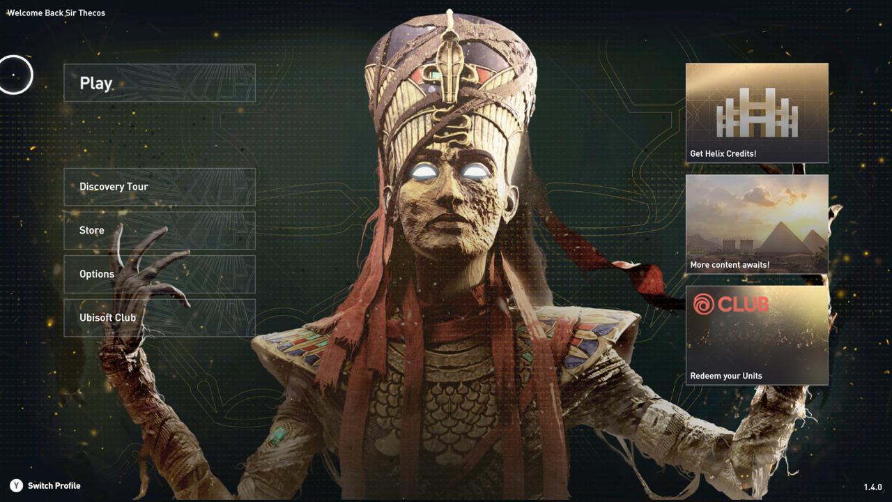 """Das Hauptmenü wurde bereits in Hinblick auf die Erweiterung """"Fluch der Pharaonen"""" in Assassin's Creed Origins angepasst."""