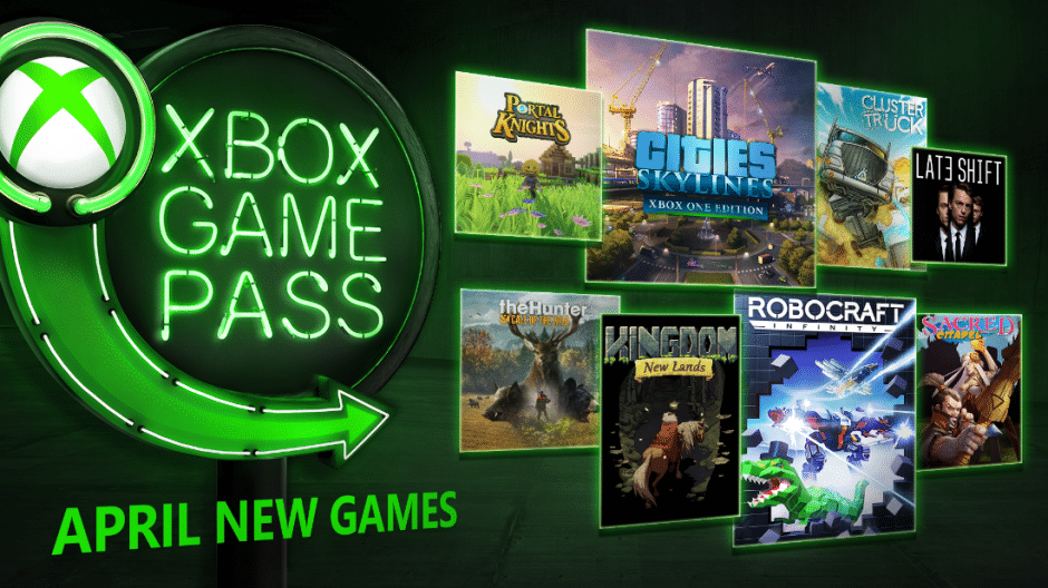 Unter den Xbox Game Pass-Spielen für April befinden sich Robocraft Infinity, Cities: Skylines, theHunter: Call of the Wild, Kingdom: New Lands, Portal Knights, ClusterTruck, Sacred Citadel und Late Shift.