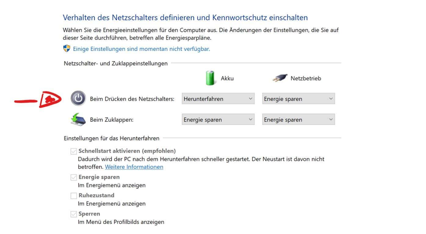 Windows 10 heruntefahren geht nicht