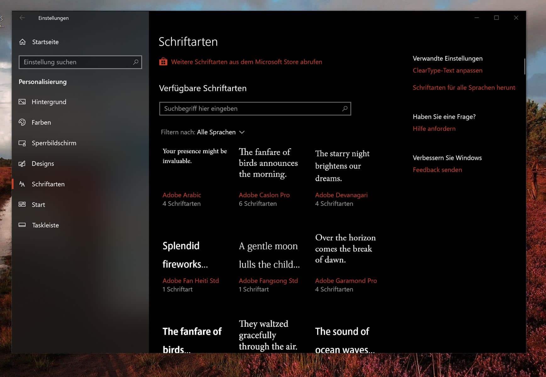 Windows 10 Schriftarten herunterladen